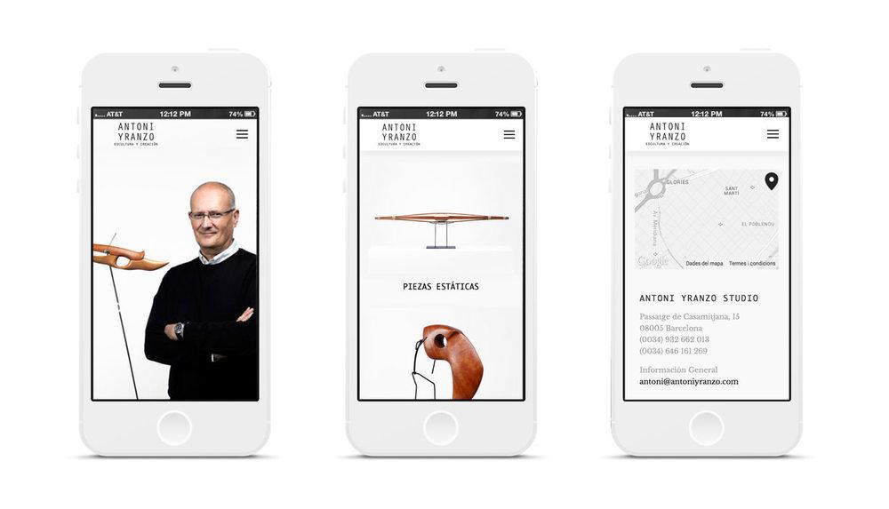 Visualization from Antoni Yranzo web on a mobile phone #AntoniYranzo / sergivich.com