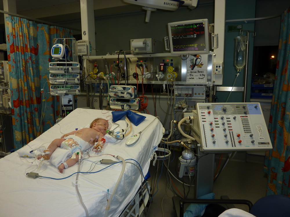 Post op in PICU.  I had a mild irrational panic when i saw him, my baby, on a big bed, with no side rails.  He was heavily sedated and not going anywhere!