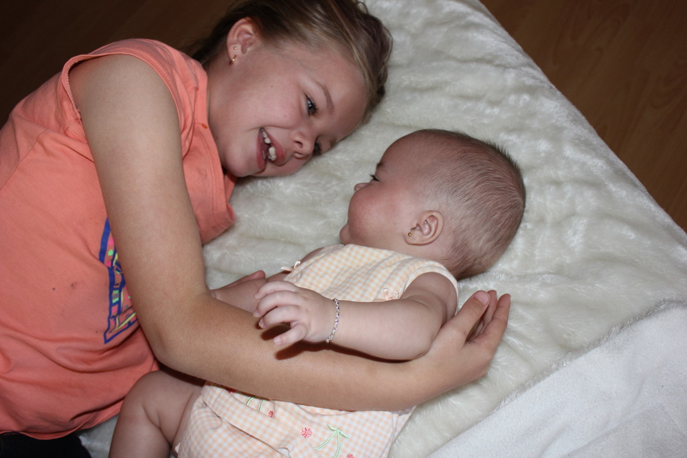 I took this one just after my stay at the mother baby unit.  I love watching my girls together.  I really am such a lucky Mum.  They both just love each other so much.