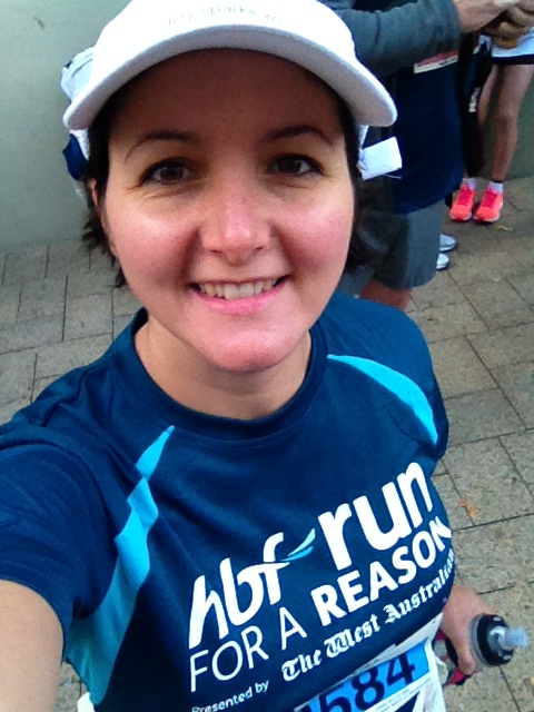 Tashana,  a high-risk pregnancy warrior,  at the start of the 12km Run, having raised a fantastic $330.