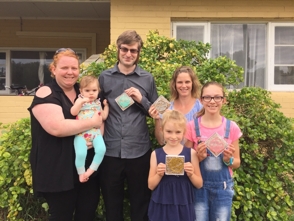 Jennifer & Daniel Foote (Foote and Flame) together with Amber Bates (Tiny Sparks WA) and their children.
