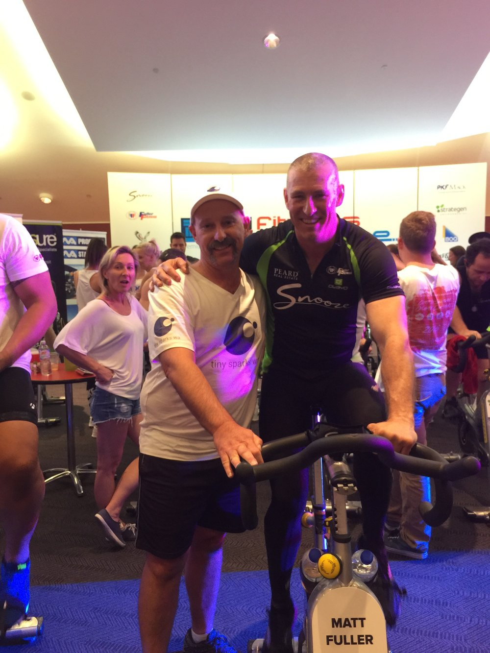 With Matt Fuller chief fitness challenge organiser and 24 hour cyclist.  No, they don't get off their bikes, not even for toilet breaks!