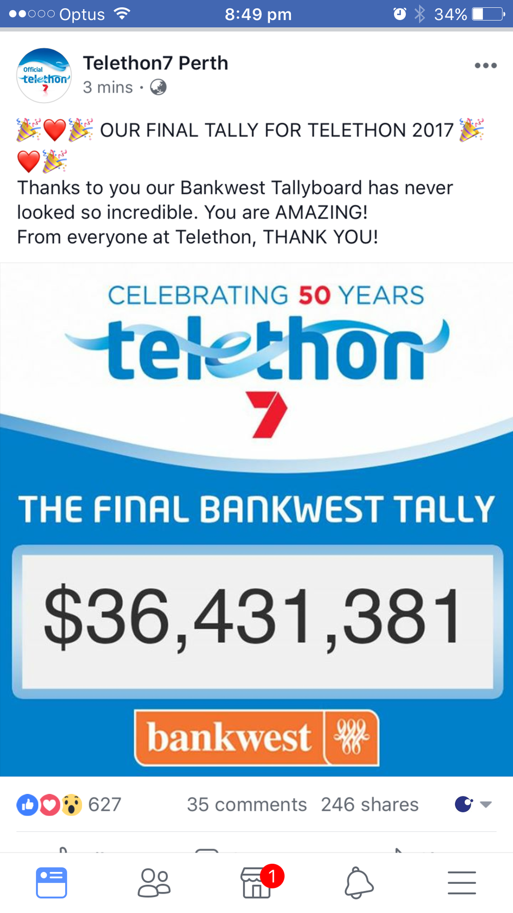 WA you are amazing, smashing last years tally!