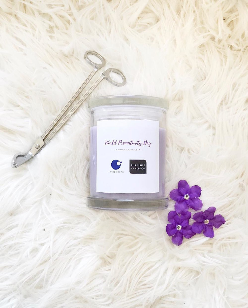 Pure Luxe Candle Co - Use discount code 'LIGHTITUPPURPLE' for 15% off this exclusive World Prematurity Day candle and they are donating $2 from every sale.