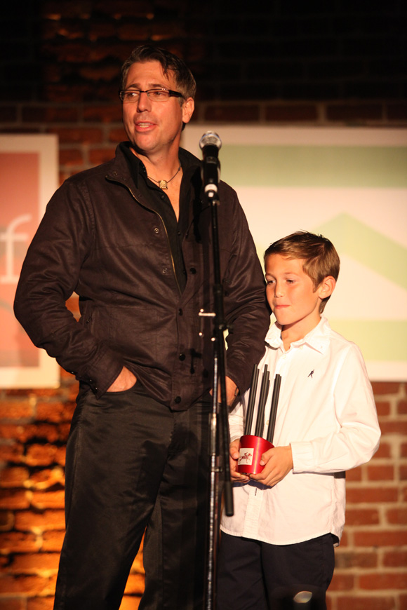John Gaeta and his son accepting the PAIFF Award