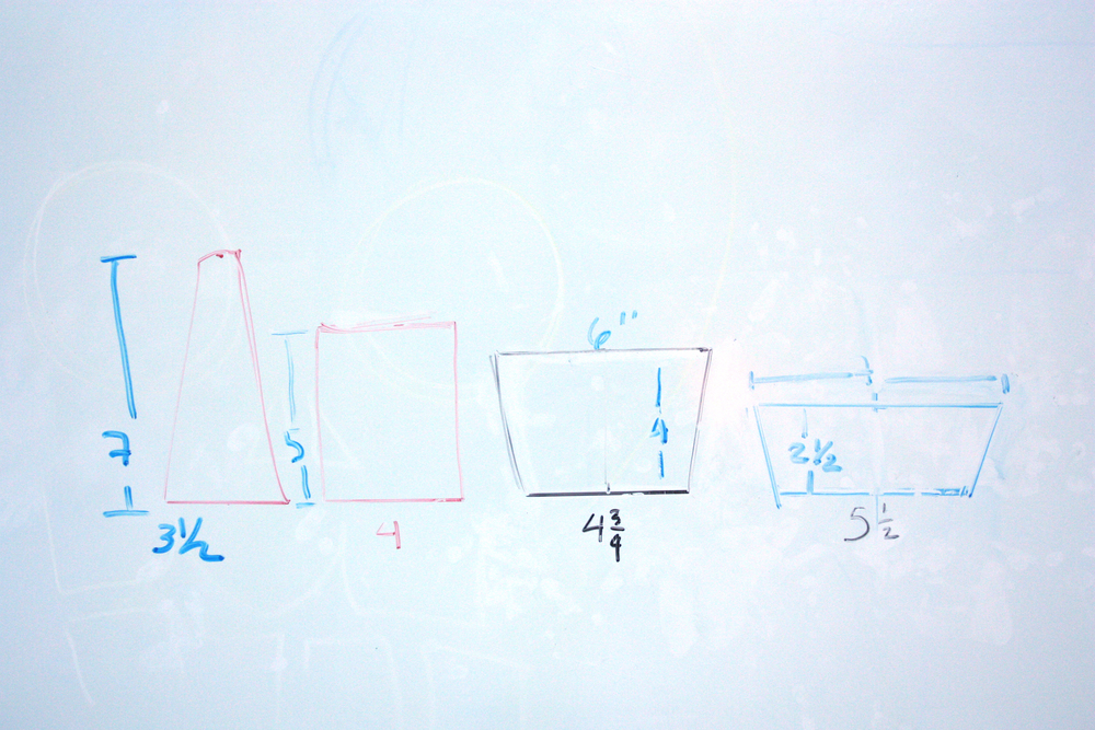 The morning of glassblowing, we finalized dimensions for the four pieces on the BAGI whiteboard. These are all rough approximations; I learned that glass is a fickle material, and controlling it is more an art than a science.