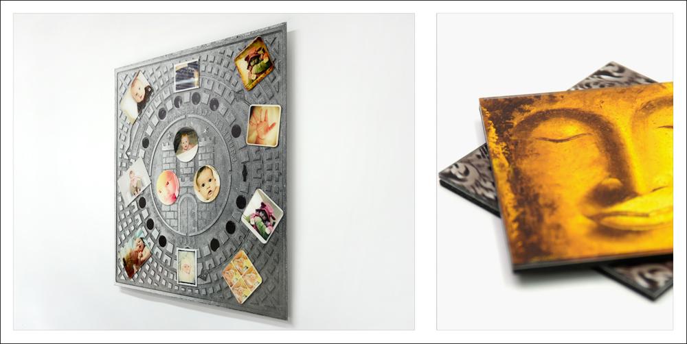 Vasemmassa kuvassa taulu jossa kuvan alla on magneettikalvo ja päällä Silisec®-magneetteja. Oikealla kuvassa Silisec® lasinalusia.