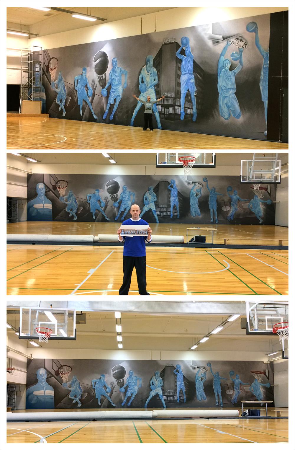 Uuden ylvään seinän kooksi tuli 25,8 x 5,0 metriä. Teosta pääsee ihailemaan osoitteessa: Malmin palloiluhalli, Siemenkuja 3, 00700 Helsinki. Kiitos Kromax / HNMKY että saimme olla mukana näin hienossa projektissa !