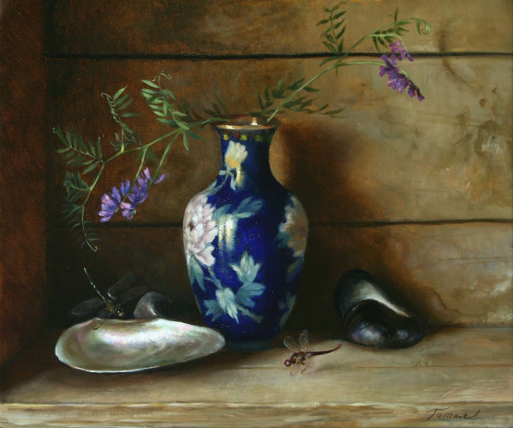 Stillife with blue vase and dragonflies 2009 Sanna Tomac.jpg