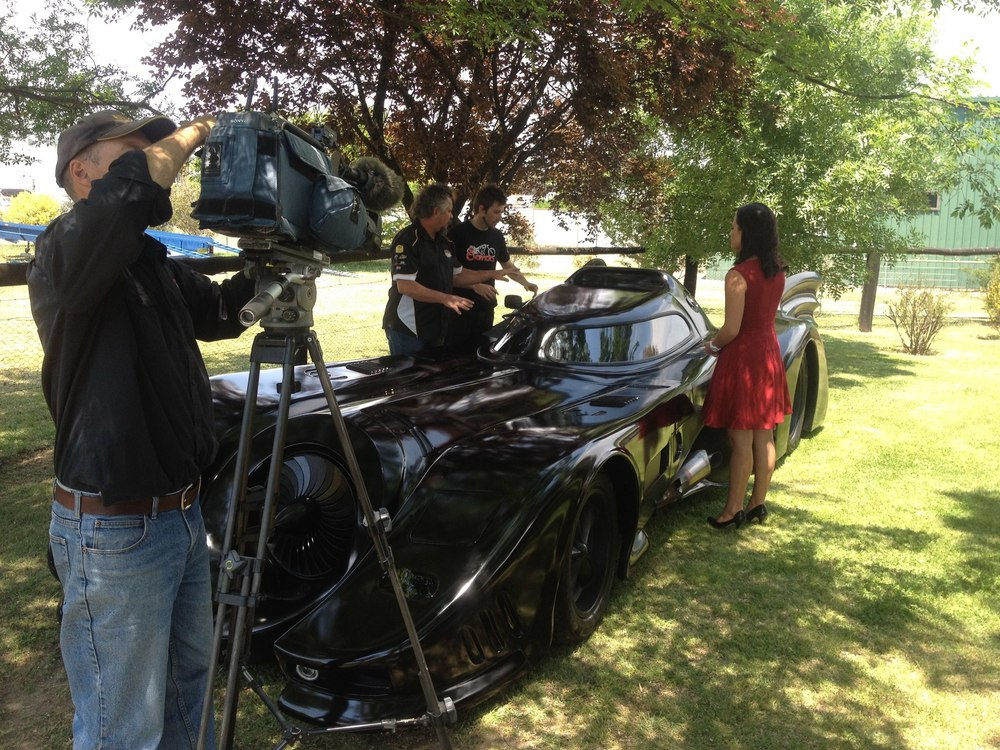 On set with Channel 7 with the Batmobile