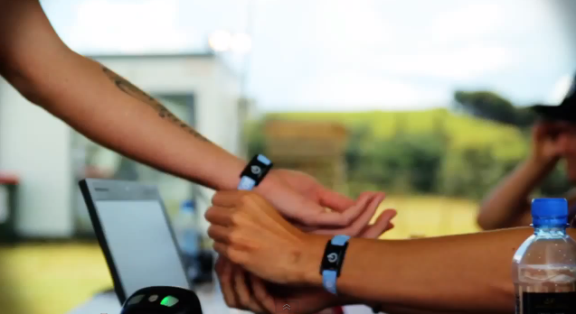 Cashless payment for food and drink using NFC wristbands