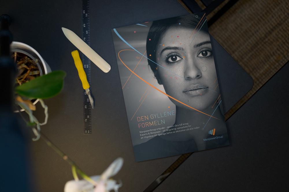 Tri-fold presentation folder for Manpower Sweden.