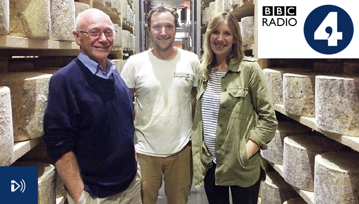 Richard and Tom Calver discussing what makes Westcombe cheese so unique with Radio 4's Ruth Sanderson.