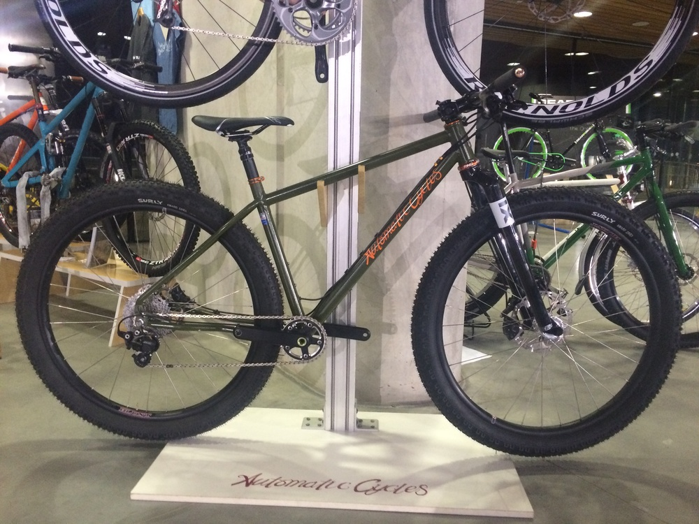 "Action Boy Trail and adventure bike. This prototype features 29er+ wheels but later models are to be 29"" and 650b+ compatible."