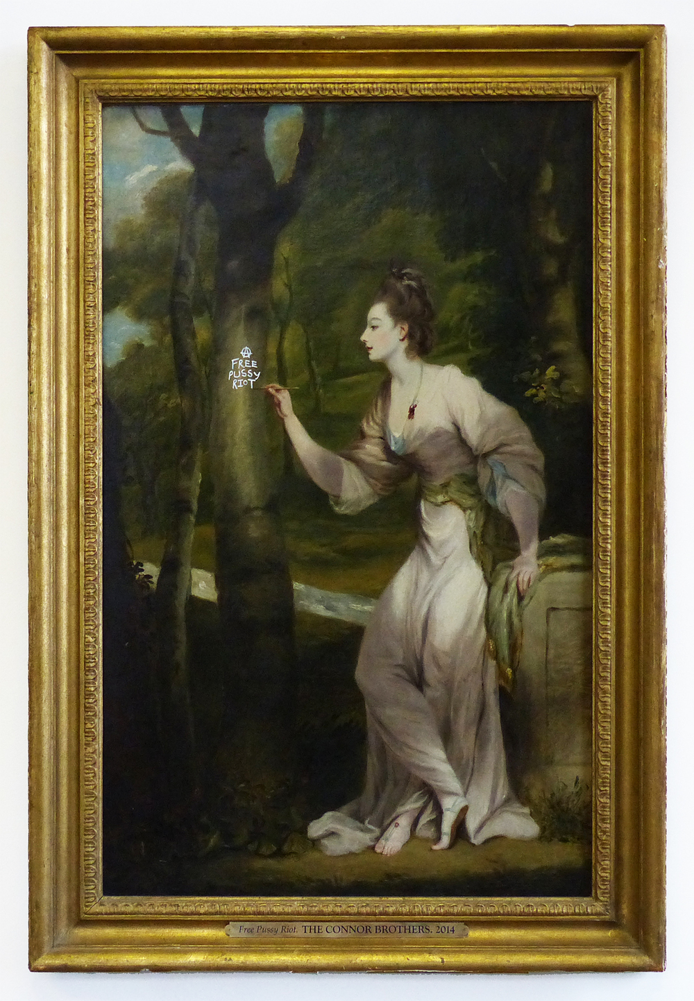 Free Pussy Riot, 2014 After Sir Joshua Reynolds, 'Portrait of Joanna Leigh', bastardised 18th Century oil on canvas 89 x 61 cm