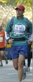 A photo of Dr. Michael Wald running the New York Marathon - finished in 3 hrs 48 min.