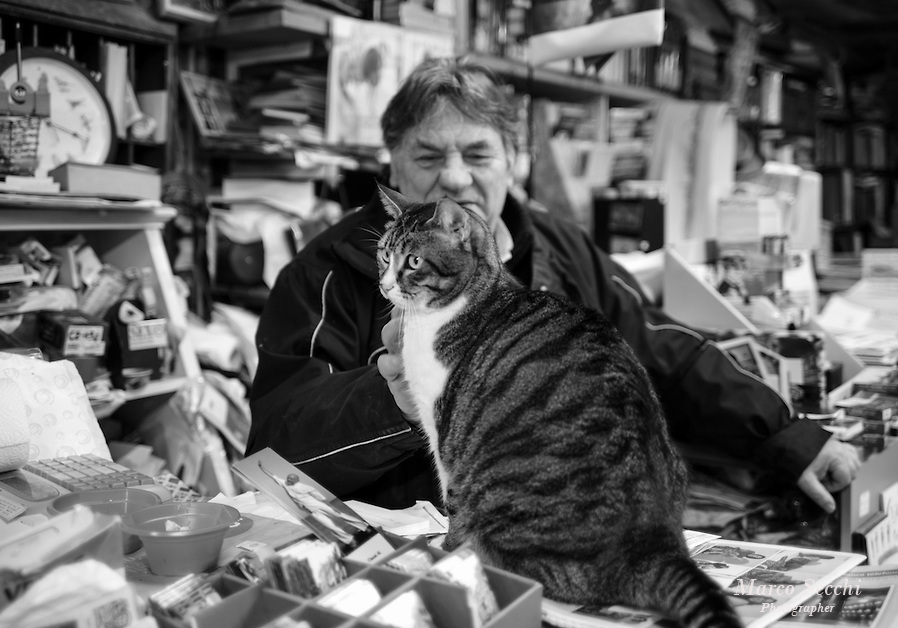 Luigi and one of his Cats at Libreria Acqua Alta in Venice (Marco Secchi)