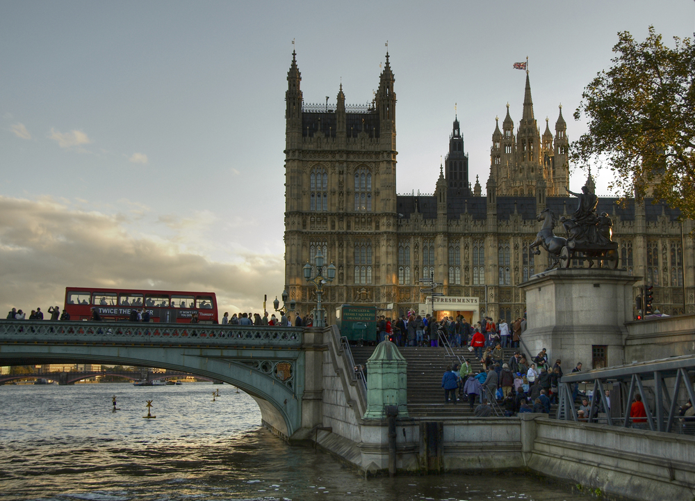 Westminster Bridge, the Parliament and red double decker, London