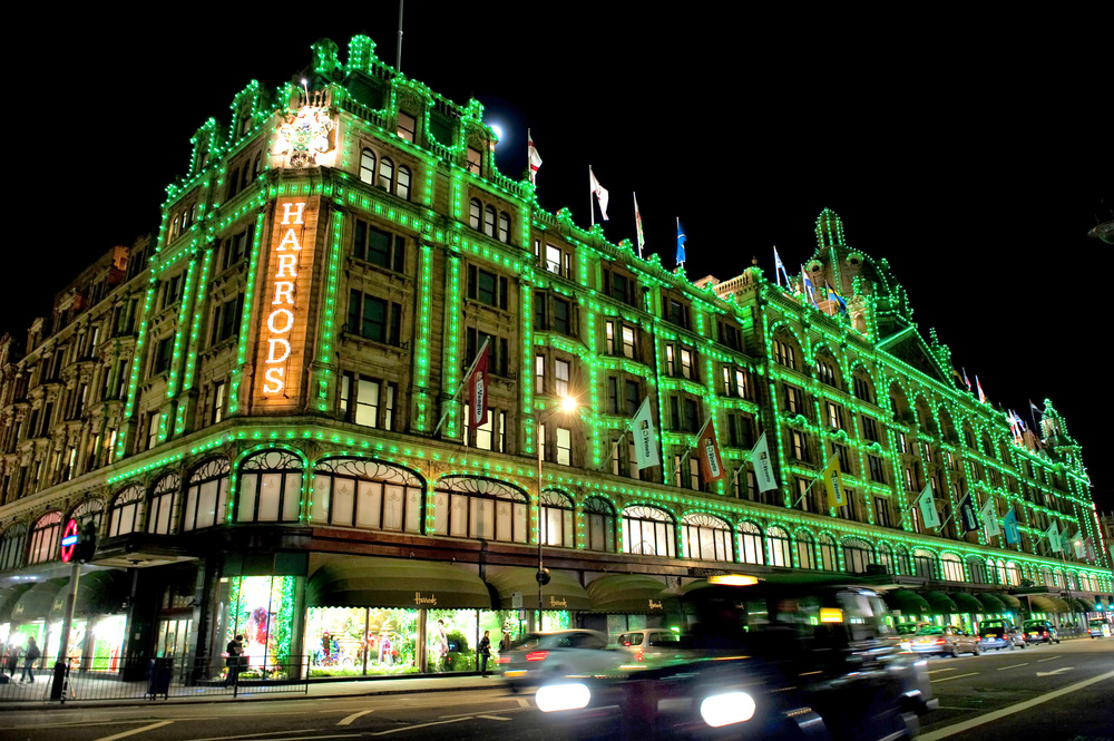 LONDON, ENGLAND - OCTOBER 29: General View of the Harrods Department Store after Dannii Minogue and Mohamed Al Fayed switched on the Christmas lights at Harrods on October 29, 2009 in London, England.