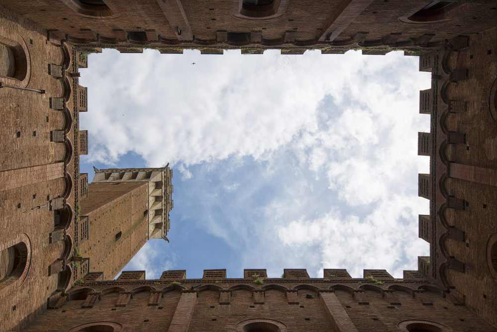 Siena tower view from below