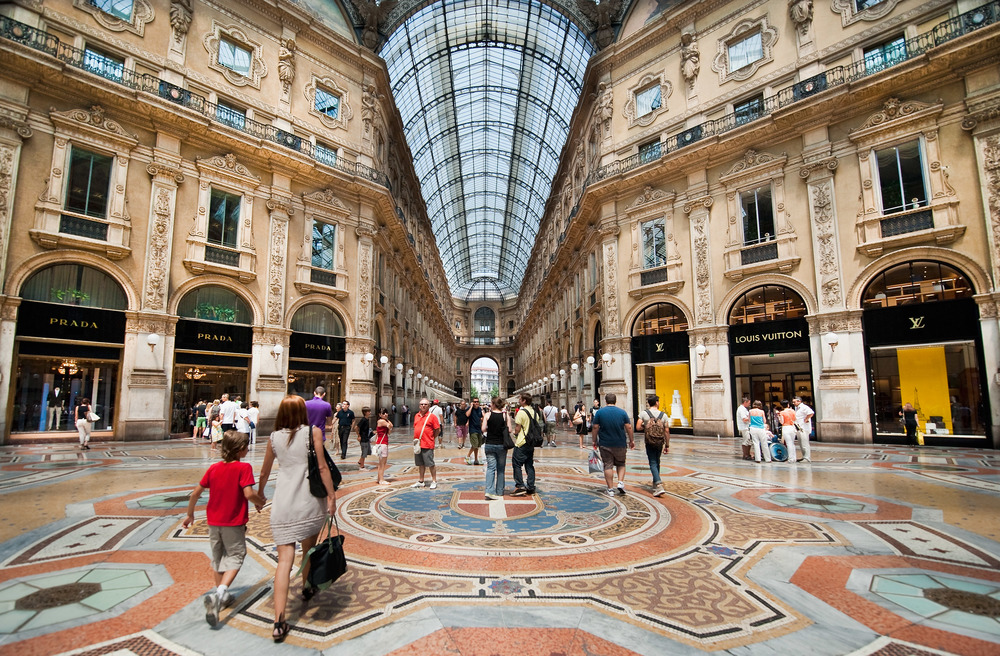 MILAN, ITALY - JULY 03:  Shoppers in the Galleria Vittorio Emanuele II in Milan on the first day of the Summer Sales on July 3, 2010 in Milan, Italy. Milan's summer sales start today.
