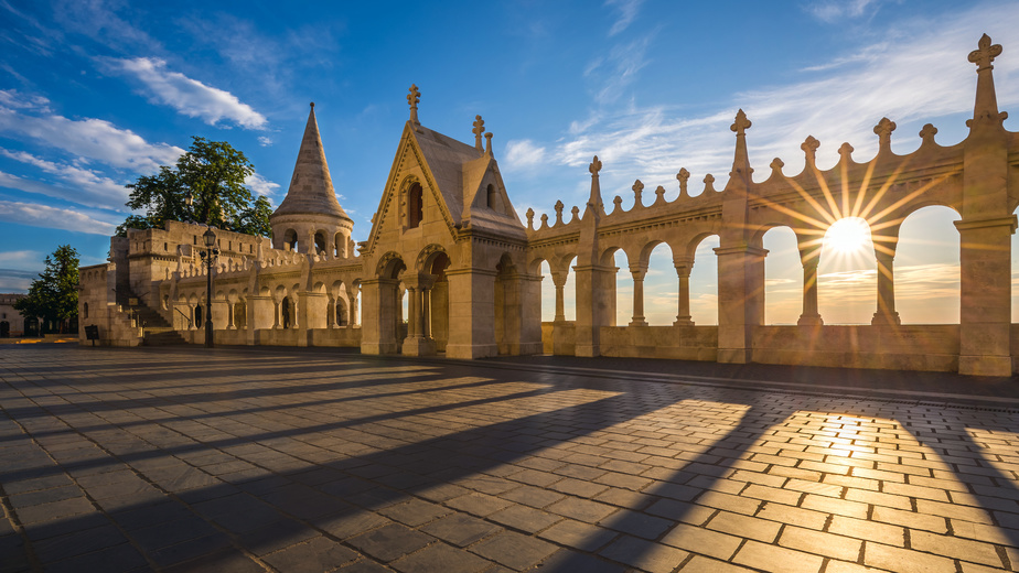 Budapest, Hungary - Beautiful sunrise at the famous Fisherman Bastion (Halasz bastya) on the Buda Hill