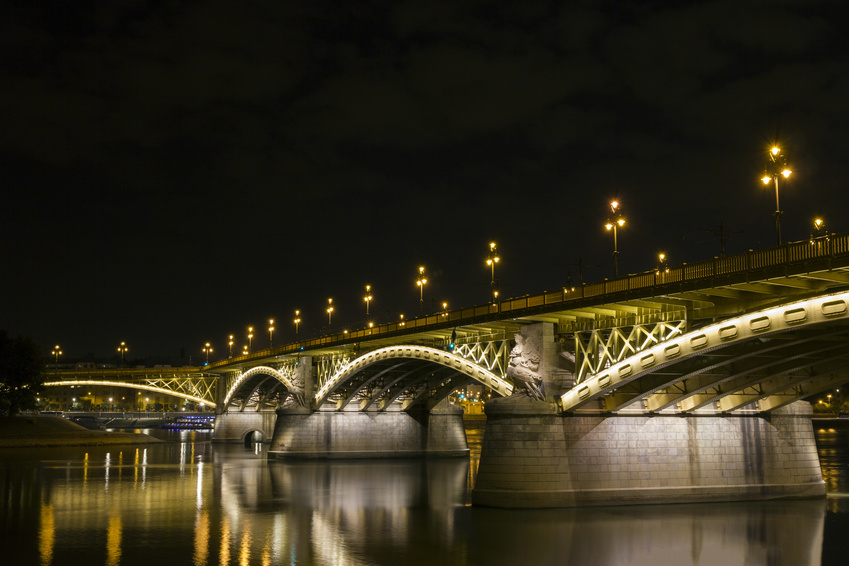 Margaret Bridge by night in Budapest