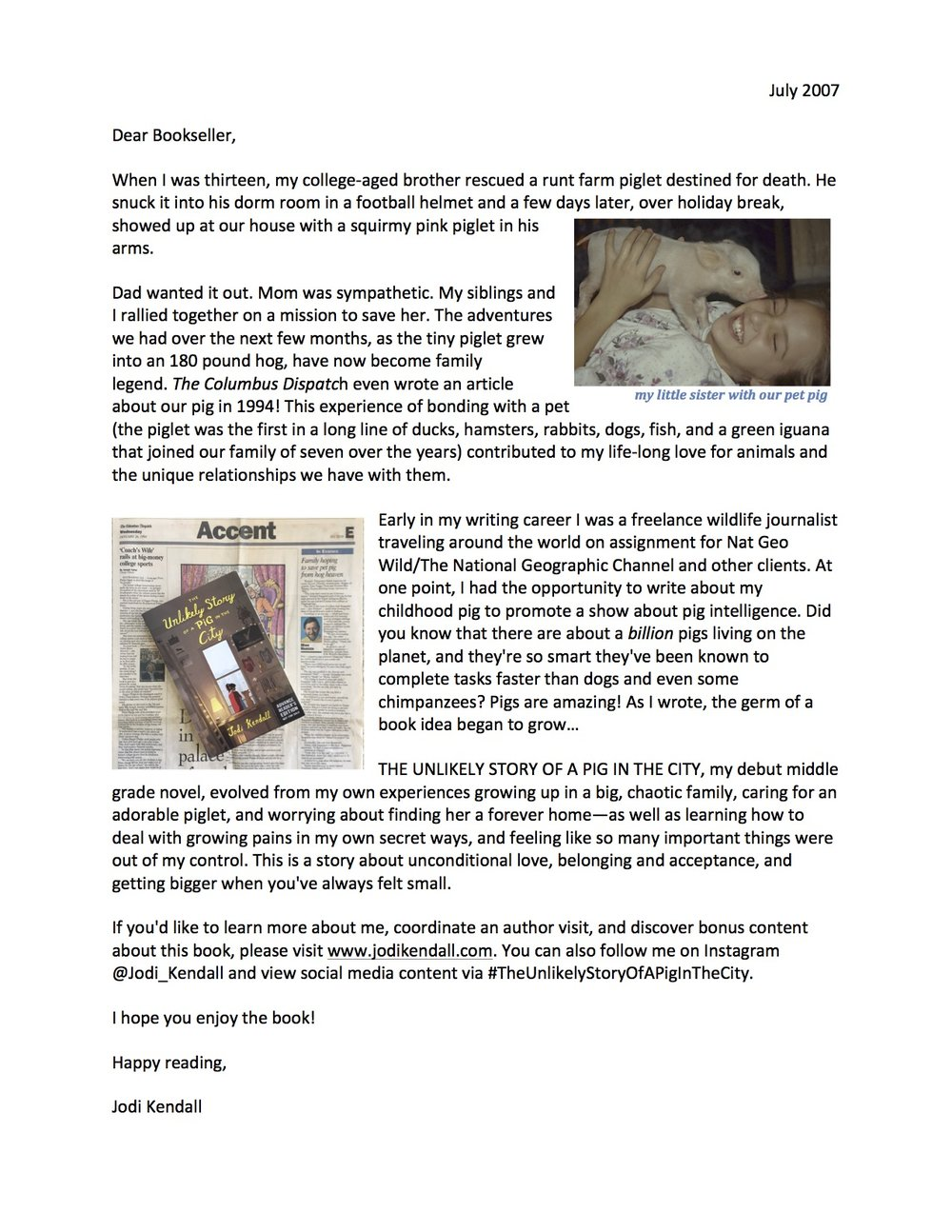 Bookstore Letter - Author shares the inspiration for the book