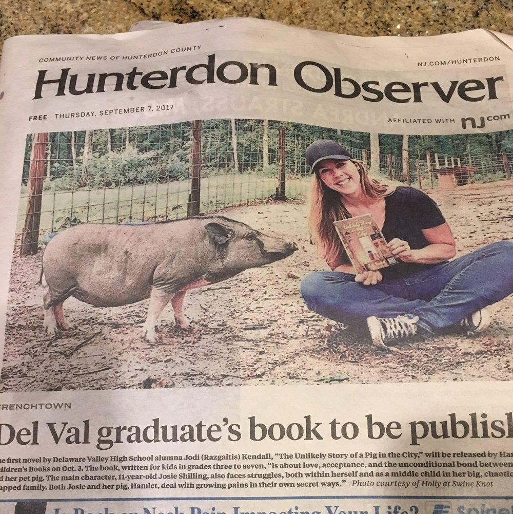 AuthorJodiKendall_HunterdonObserverFrontPage.JPG