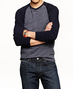 JCrew Slim Flagstone Baseball Tee, $65