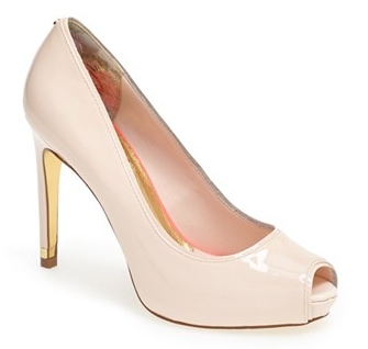 You can never go wrong with a nude pump. Wear it to work, to weddings, to cocktail parties & more. This blush-toned peeptoe by Ted Baker is perfection.
