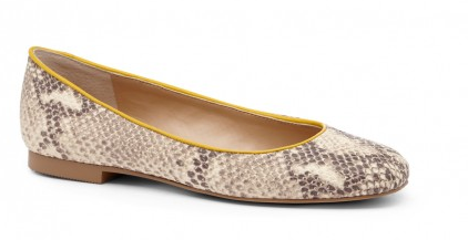 And, for those of you who are more daring, add some flair to your flat by trying a neutral snakeskin. I love the yellow trim on these ones, by Sole Society.