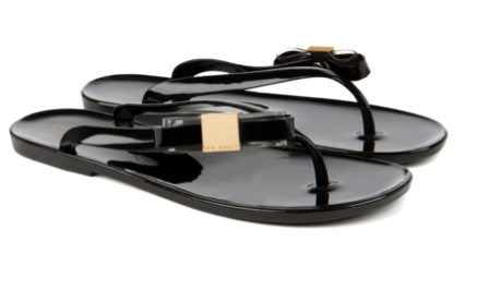 You can't go wrong with a glossy black. These side bow flops from Ted Baker are no exception. I'm loving the gold hardware accent as well.