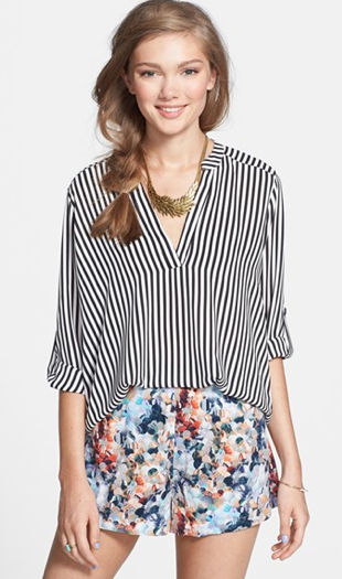 I love this Lush Roll Tab Sleeve from Nordstrom; a classic & timeless stripe with a drapey and flowy fit, perfect for a breathable, comfortable and stylish work look