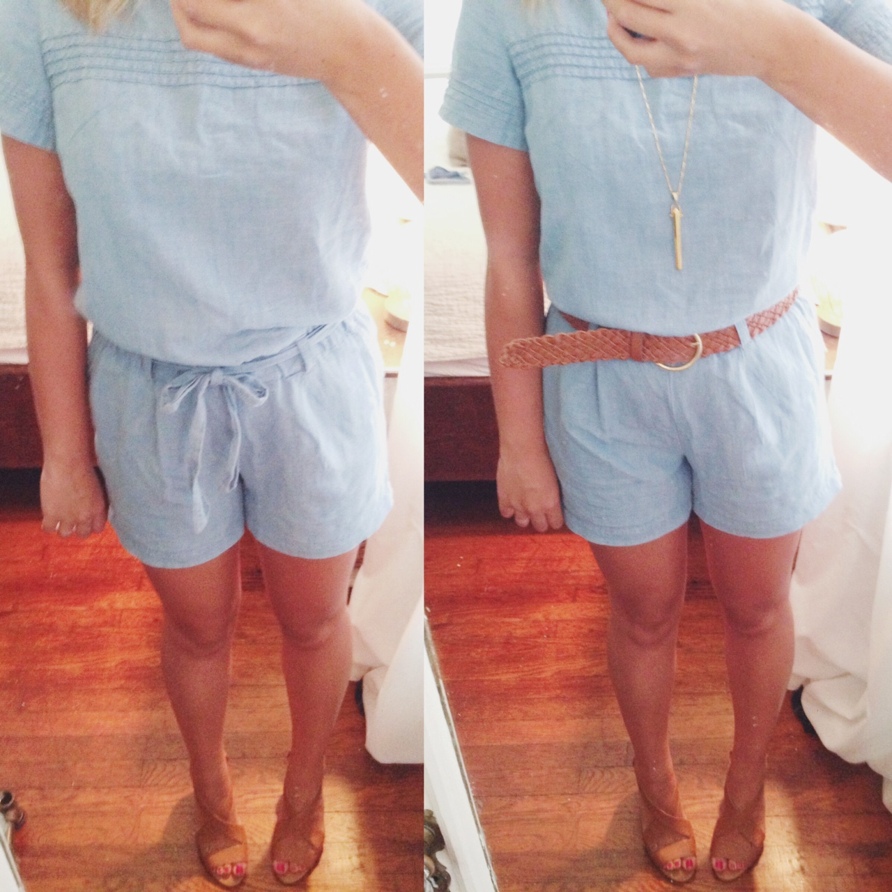 I love this chambray romper from the LOFT. Be careful, you may have to go a size down!