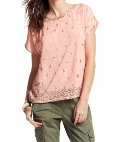 Caprina Sequined Linen Tee