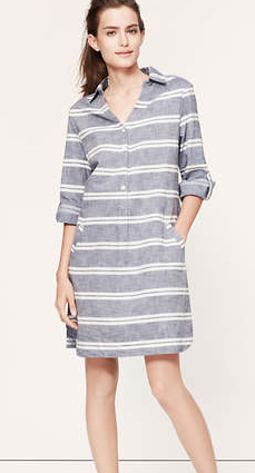 LOFT Striped Chambray Shirtdress