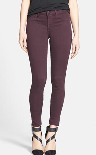 J. Brand Skinny Jeans in Dark Plum