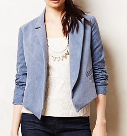Anthropologie Quilted Chambray Blazer