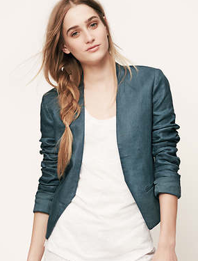 LOFT Cropped Linen Open Jacket
