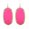 Gold Neon Coral Resin Danielle Earrings