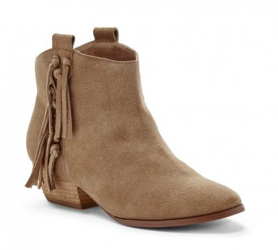 If you like a little fringe and a lower heel... The Kemi Bootie in Tan