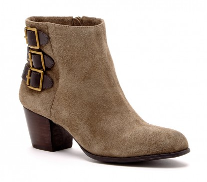 I'm loving the leather straps + buckle detailing on these booties...The Terilyn Bootie in Army Fudge