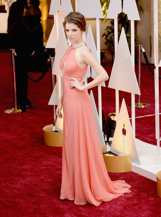 Maybe it's because I watched Pitch Perfect for the first time ever {Yes, I know...} on Friday night, but I am loving Anna Kendrick's gown. The peach color is great on her fair skin, whereas we've seen her in some blushes and neutrals that really don't flatter in the past. Neckline is great with her shoulders and arms, with no bling accessories needed. Glamorous and ladylike.