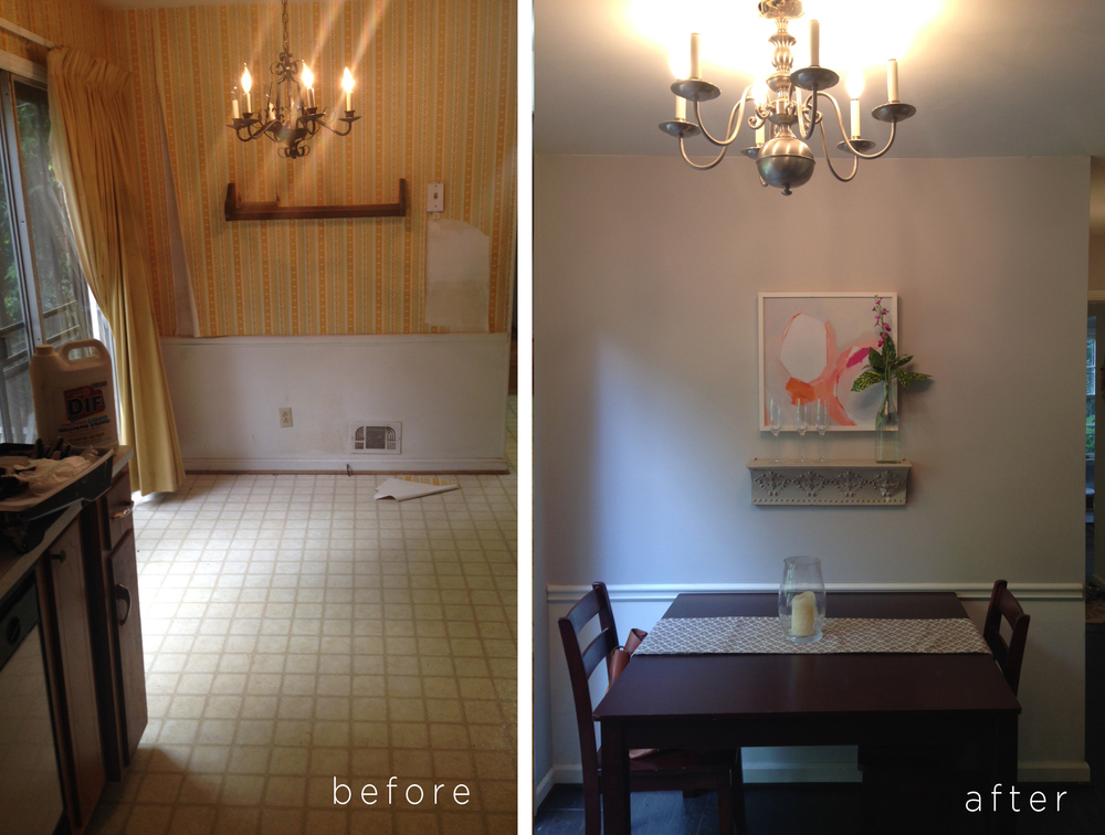 This 'Before + After' was taken right after we finished initial renovations and moved in. We were using our existing furniture which was too dark for the space, and the original light fixture {which wasn't centered over the table!} It was a HUGE improvement from when we bought the house, but not up to par with the vision I had for this space.