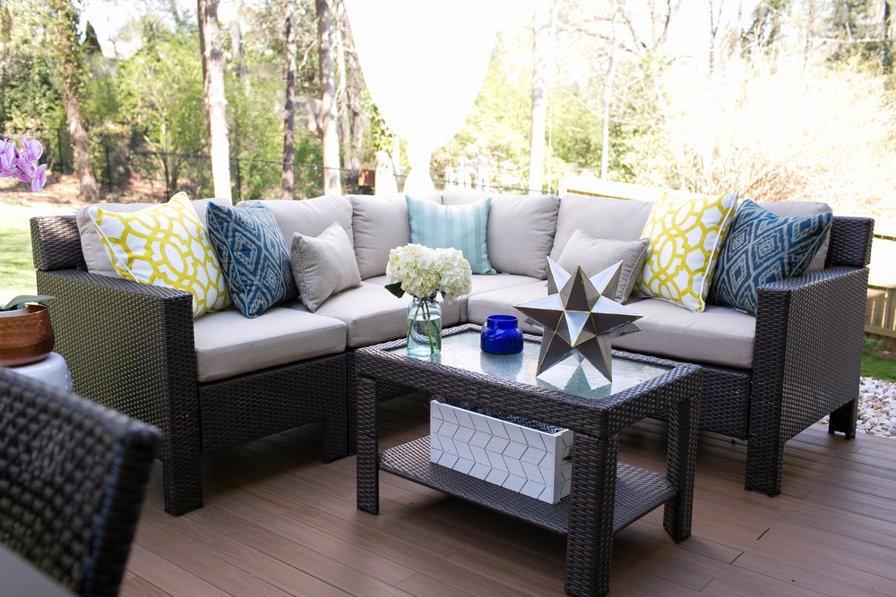 We thought adding a deck like flooring would really make the patio feel  cleaner. Home Depot Patio Style Challenge Reveal   Lifestyled   Atlanta