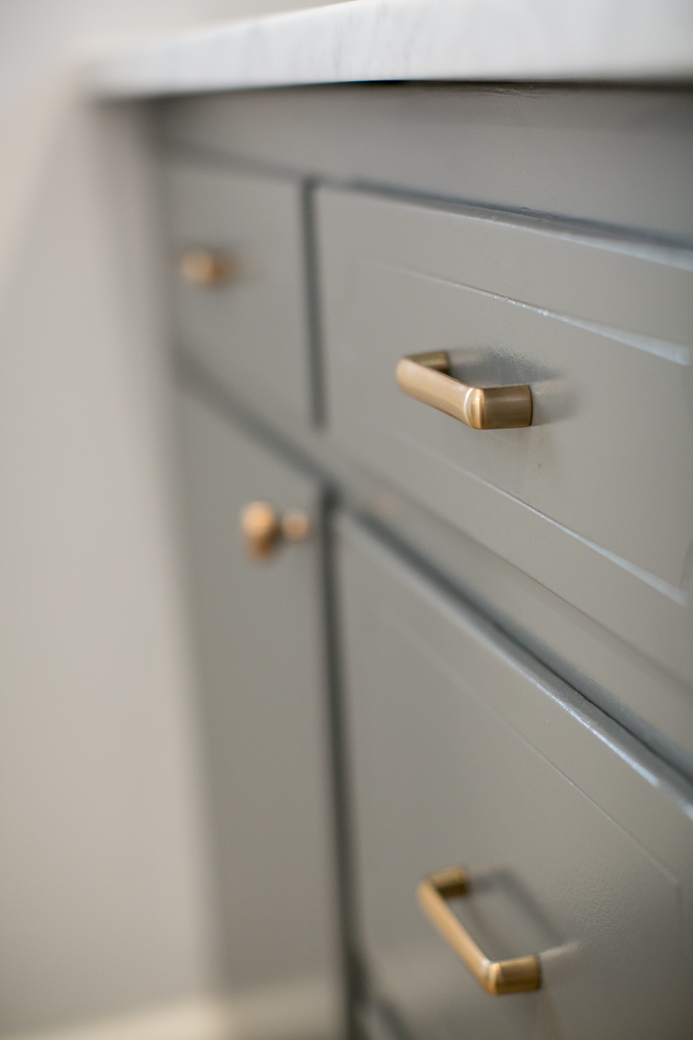... Switch From Chrome To Satin Rose Gold Knobs + Pulls In My Kitchen And I  Absolutely Love The Warmth It Adds Against My Gray + White Two Toned  Cabinets