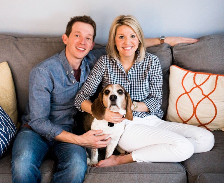 Pictured with her husband, Daniel Campbell, and their dog Bandit. Photo by Katie Childs