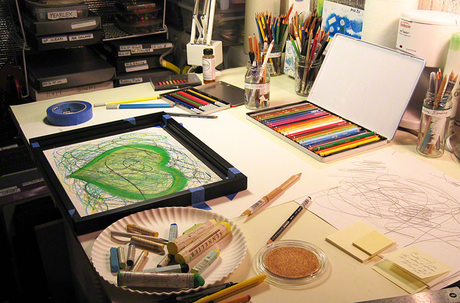 """New oil pastel heart painting in process in the tiny """"Nest"""" heart painting studio"""