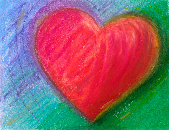 One of the new paintings included in this exhibition of heart paintings by Catherine Jo Morgan